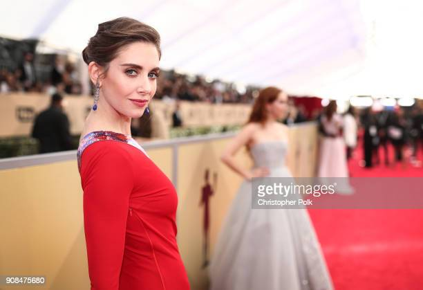 Actor Alison Brie attends the 24th Annual Screen Actors Guild Awards Trophy Room at The Shrine Auditorium on January 21 2018 in Los Angeles...