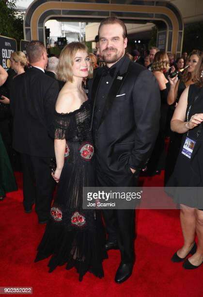 Actor Alison Sudol and David Harbour celebrate The 75th Annual Golden Globe Awards with Moet Chandon at The Beverly Hilton Hotel on January 7 2018 in...