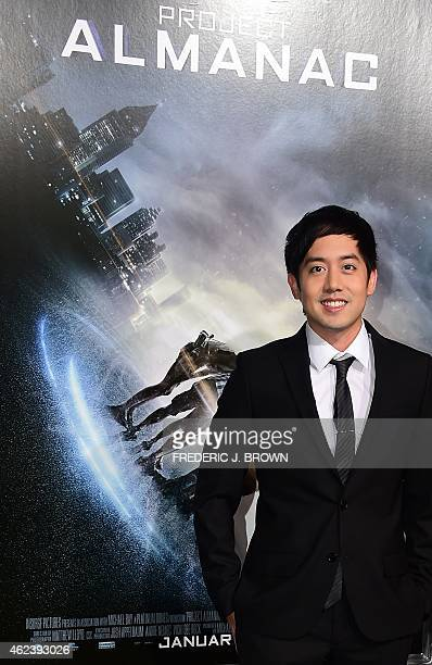 Actor Allen Evangelista poses on arrival for the Los Angeles Premiere of Project Almanac on January 27 2015 in Hollywood California The film opens...