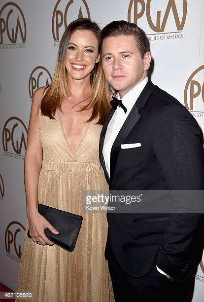 Actor Allen Leech and Charlie Webster attend the 26th Annual Producers Guild Of America Awards at the Hyatt Regency Century Plaza on January 24 2015...