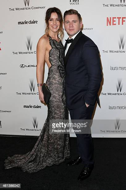 Actor Allen Leech and Guest attend the 2015 Weinstein Company and Netflix Golden Globes After Party at Robinsons May Lot on January 11 2015 in...