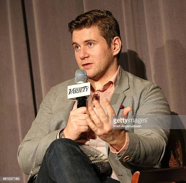 Actor Allen Leech speaks onstage during a QA following the screening of 'The Imitation Game' at DGA Theater on January 4 2015 in Los Angeles...