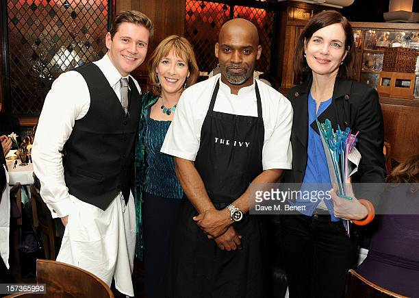 Actor Allen Leech working as a waiter Phyllis Logan guest and Elizabeth McGovern working as Hostess attend One Night Only at The Ivy featuring 30...