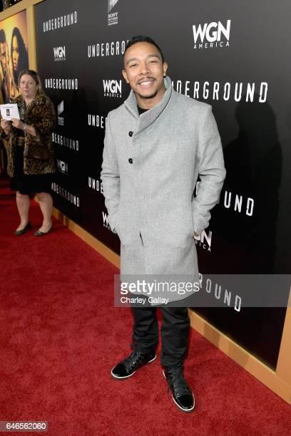 Actor Allen Maldonado attends WGN America's Underground Season Two Premiere Screening at Regency Village Theatre on March 1 2017 in Westwood...