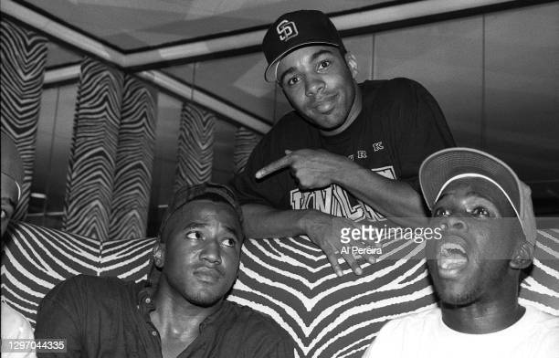 """Actor Allen Payne and A Tribe Called Quest attend an album-release party for A Tribe Called Quest's """"The Low End Theory"""" on September 16, 1991 in New..."""