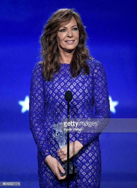 Actor Allison Janney accepts Best Supporting Actress for 'I Tonya' onstage during The 23rd Annual Critics' Choice Awards at Barker Hangar on January...