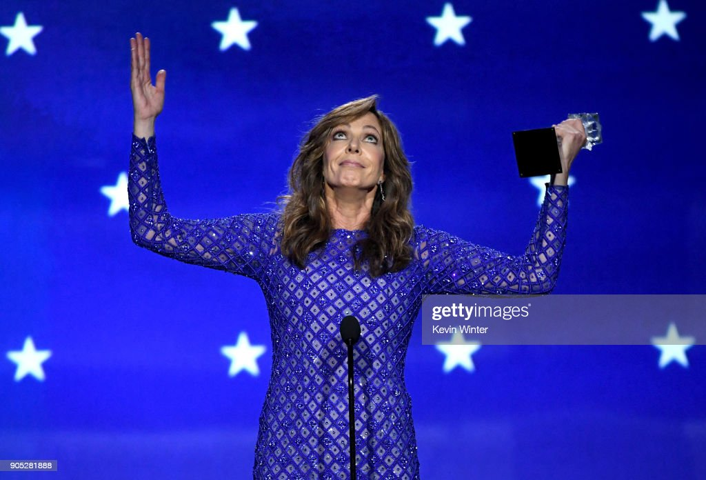 Actor Allison Janney accepts Best Supporting Actress for 'I, Tonya' onstage during The 23rd Annual Critics' Choice Awards at Barker Hangar on January 11, 2018 in Santa Monica, California.