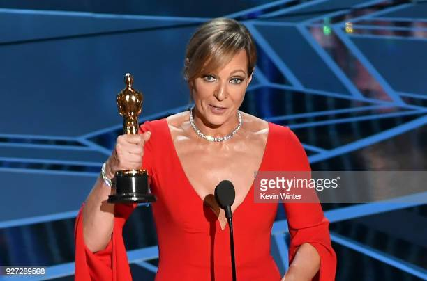 Actor Allison Janney accepts Best Supporting Actress for 'I Tonya' onstage during the 90th Annual Academy Awards at the Dolby Theatre at Hollywood...