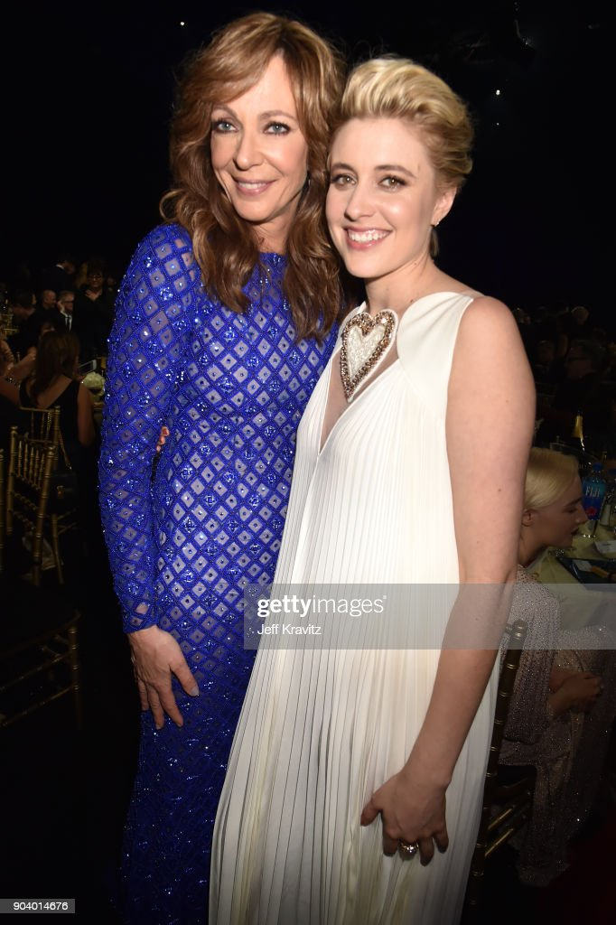 Actor Allison Janney (L) and actor/director Greta Gerwig attend The 23rd Annual Critics' Choice Awards at Barker Hangar on January 11, 2018 in Santa Monica, California.