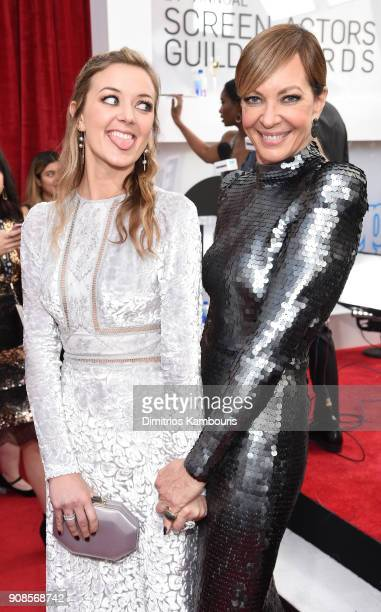 Actor Allison Janney and guest attend the 24th Annual Screen Actors Guild Awards at The Shrine Auditorium on January 21 2018 in Los Angeles...