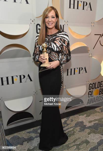 Actor Allison Janney celebrates The 75th Annual Golden Globe Awards with Moet Chandon at The Beverly Hilton Hotel on January 7 2018 in Beverly Hills...