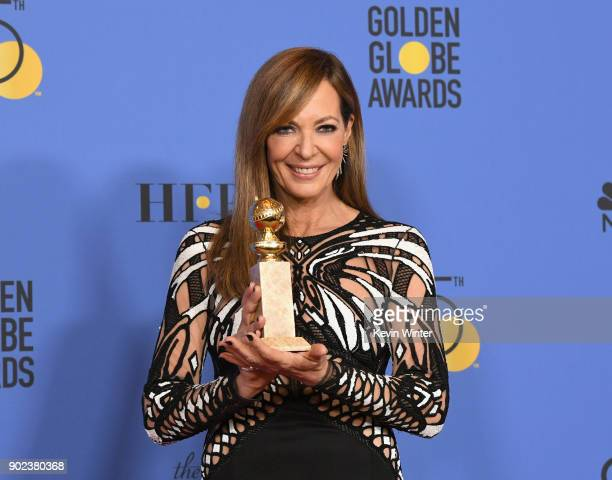 Actor Allison Janney poses with the award for Best Performance by an Actress in a Supporting Role in any Motion Picture for 'I Tonya' in the press...