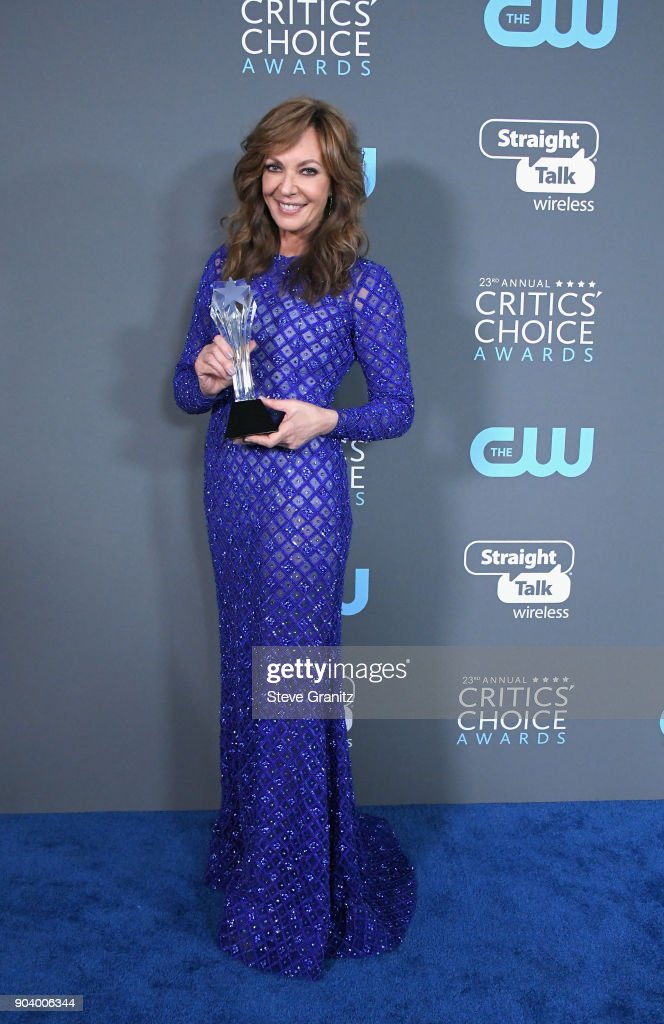 Actor Allison Janney poses with the award for Best Supporting Actress for 'I, Tonya', in the press room during The 23rd Annual Critics' Choice Awards at Barker Hangar on January 11, 2018 in Santa Monica, California.