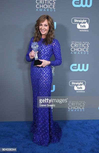 Actor Allison Janney poses with the award for Best Supporting Actress for 'I Tonya' in the press room during The 23rd Annual Critics' Choice Awards...