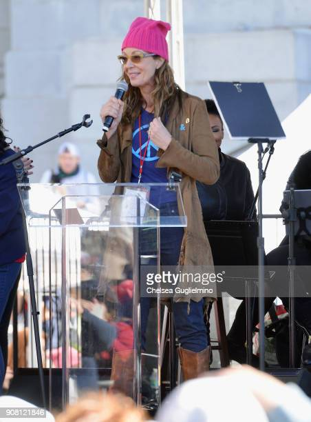 Actor Allison Janney speaks during the Women's March Los Angeles 2018 on January 20 2018 in Los Angeles California