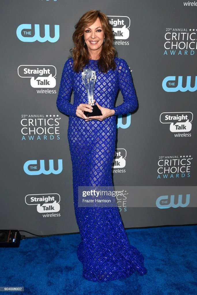 Actor Allison Janney, winner of Best Supporting Actress for 'I, Tonya', poses in the press room during The 23rd Annual Critics' Choice Awards at Barker Hangar on January 11, 2018 in Santa Monica, California.