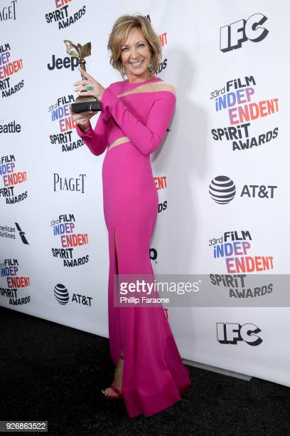 Actor Allison Janney winner of Best Supporting Female for 'I Tonya' poses in the press room during the 2018 Film Independent Spirit Awards on March 3...