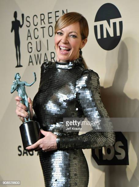 Actor Allison Janney, winner of the award for Best Actress in a Supporting Role for 'I, Tonya,' poses in the press room during the 24th Annual Screen...