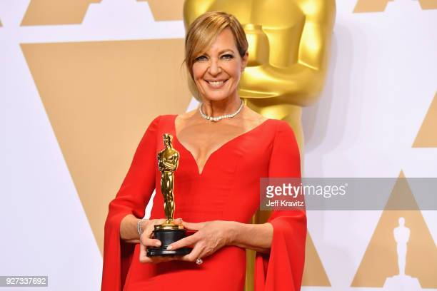 "Actor Allison Janney winner of the Supporting Actress award for ""I Tonya"" poses in the press room during the 90th Annual Academy Awards at Hollywood..."
