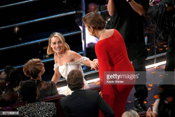 Actor Allison Janney wins Best Supporting Actress for 'I Tonya' with costar Margot Robbie during the 90th Annual Academy Awards at the Dolby Theatre...