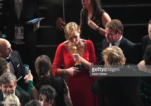 Actor Allison Janney with her Oscar for Best Supporting Actress for 'I Tonya' with screenwriter Steven Rogers during the 90th Annual Academy Awards...