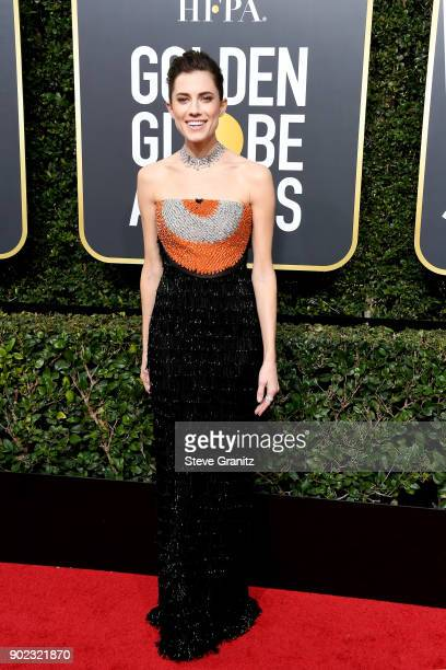 Actor Allison Williams attends The 75th Annual Golden Globe Awards at The Beverly Hilton Hotel on January 7 2018 in Beverly Hills California