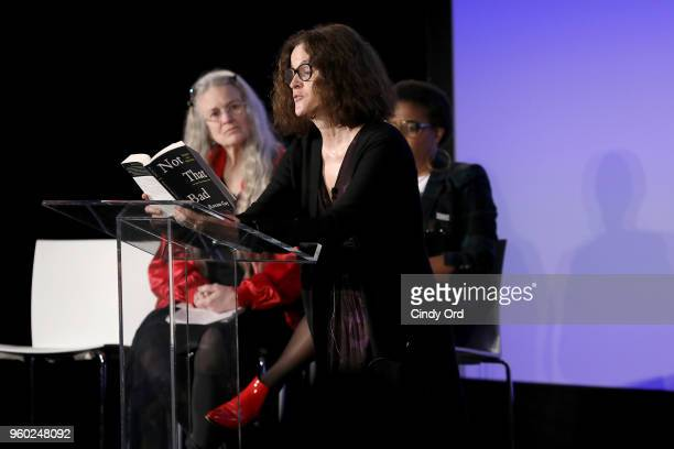 Actor Ally Sheedy speaks onstage ad Sharon Olds looks on during Vulture Festival presented by ATT Roxane Gay and Amber Tamblyn Present Feminist AF at...