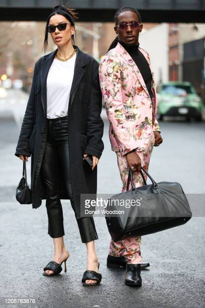 Actor AlTeron Williams and model Claudia Salinas are seen outside of the Naeem Khan show during New York Fashion Week on February 11 2020 in New York...