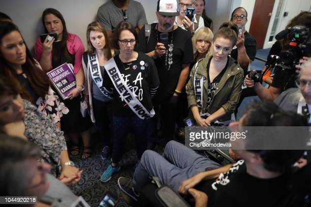 Actor Alyssa Milano joins activist Ady Barkan and dozens of other protesters outside the offices of Sen Lisa Murkowski in the Hart Senate Office...