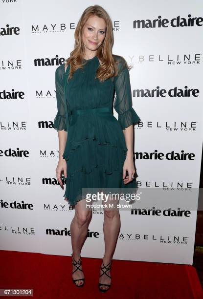 Actor Alyssa Sutherland attends Marie Claire's 'Fresh Faces' celebration with an event sponsored by Maybelline at Doheny Room on April 21 2017 in...