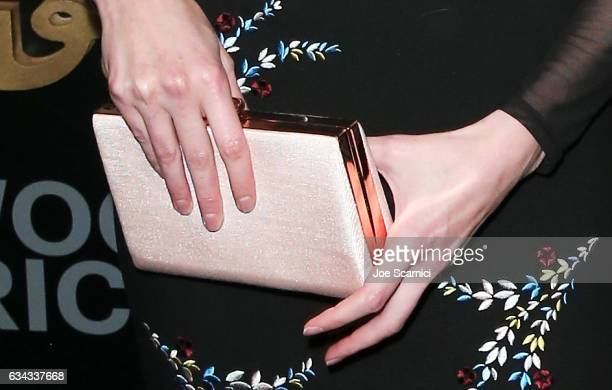 Actor Alyssa Sutherland purse detail attends Esquire's celebration of March cover star James Corden and the Mavericks of Hollywood presented by Hugo...