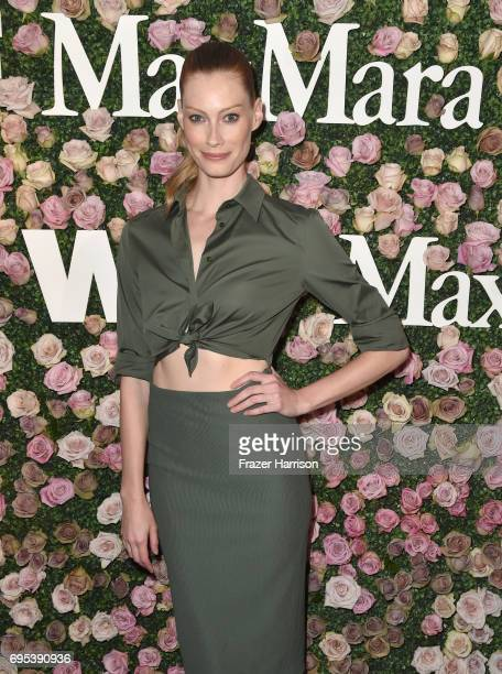 Actor Alyssa Sutherland wearing Max Mara at Max Mara Celebrates Zoey Deutch The 2017 Women In Film Max Mara Face of the Future at Chateau Marmont on...
