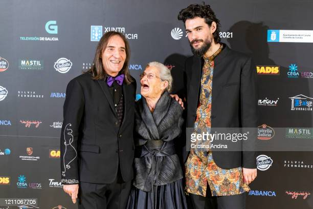 Actor Amador Arias actress Benedicta Sánchez and director of Lo que Arde Oliver Laxe attend the Mestre Mateo Awards in A Coruna on March 07 2020 in A...