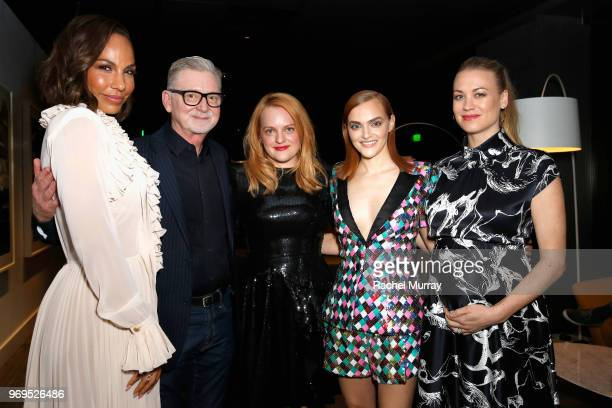 Actor Amanda Brugel produer Warren Littlefield actors Elisabeth Moss Madeline Brewer and Yvonne Strahovski attend Hulu's 'The Handmaid's Tale' FYC at...