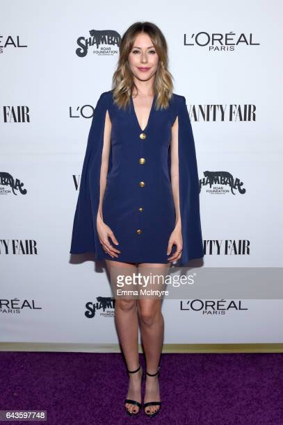Actor Amanda Crew attends Vanity Fair and L'Oreal Paris Toast to Young Hollywood hosted by Dakota Johnson and Krista Smith at Delilah on February 21...