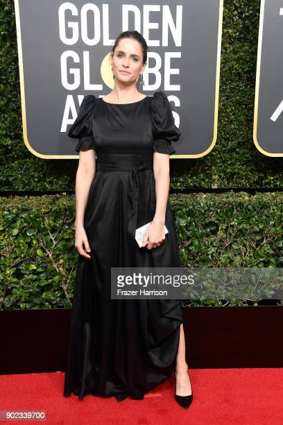 Actor Amanda Peet attends The 75th Annual Golden Globe Awards at The Beverly Hilton Hotel on January 7 2018 in Beverly Hills California