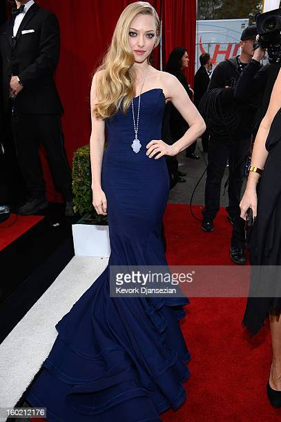 Actor Amanda Seyfried arrives at the 19th Annual Screen Actors Guild Awards held at The Shrine Auditorium on January 27 2013 in Los Angeles California