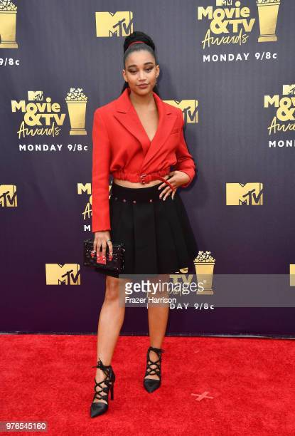 Actor Amandla Stenberg attends the 2018 MTV Movie And TV Awards at Barker Hangar on June 16 2018 in Santa Monica California