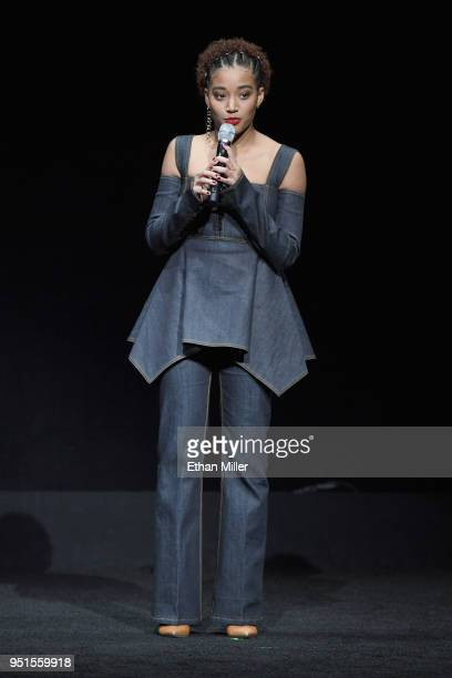 Actor Amandla Stenberg onstage during CinemaCon 2018 20th Century Fox Invites You to a Special Presentation Highlighting Its Future Release Schedule...