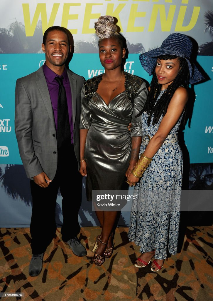 Actor Amari Cheatom, costume designer Charlese Antoinette Jones and actress Trae Harris attend 'Newlyweeds' premiere during NEXT WEEKEND, presented by Sundance Institute at Sundance Sunset Cinema on August 10, 2013 in Los Angeles, California.