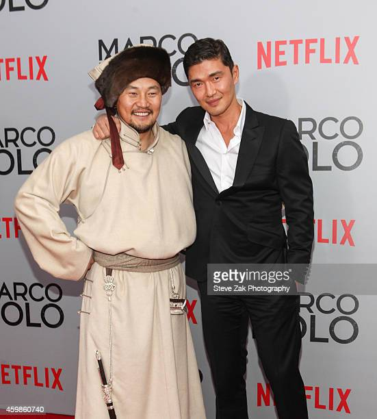 Actor Amarsaikhan Baljinnyam and Rick Yune attend the 'Marco Polo' New York Series Premiere at AMC Lincoln Square Theater on December 2 2014 in New...