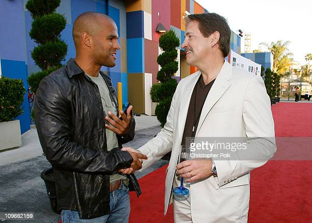Actor Amaury Nolasco and Gary Lafever arrive at the Hollywood launch of PlatinumLounge.com at The Globe Theatre on July 7, 2007 in Los Angeles...