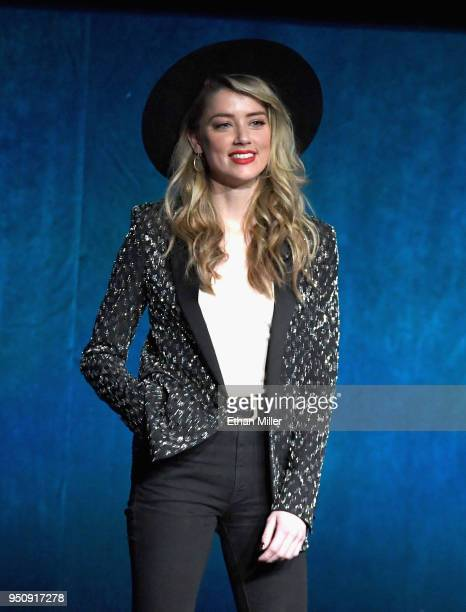 """Actor Amber Heard speaks onstage during CinemaCon 2018 Warner Bros Pictures Invites You to """"The Big Picture"""" an Exclusive Presentation of our..."""