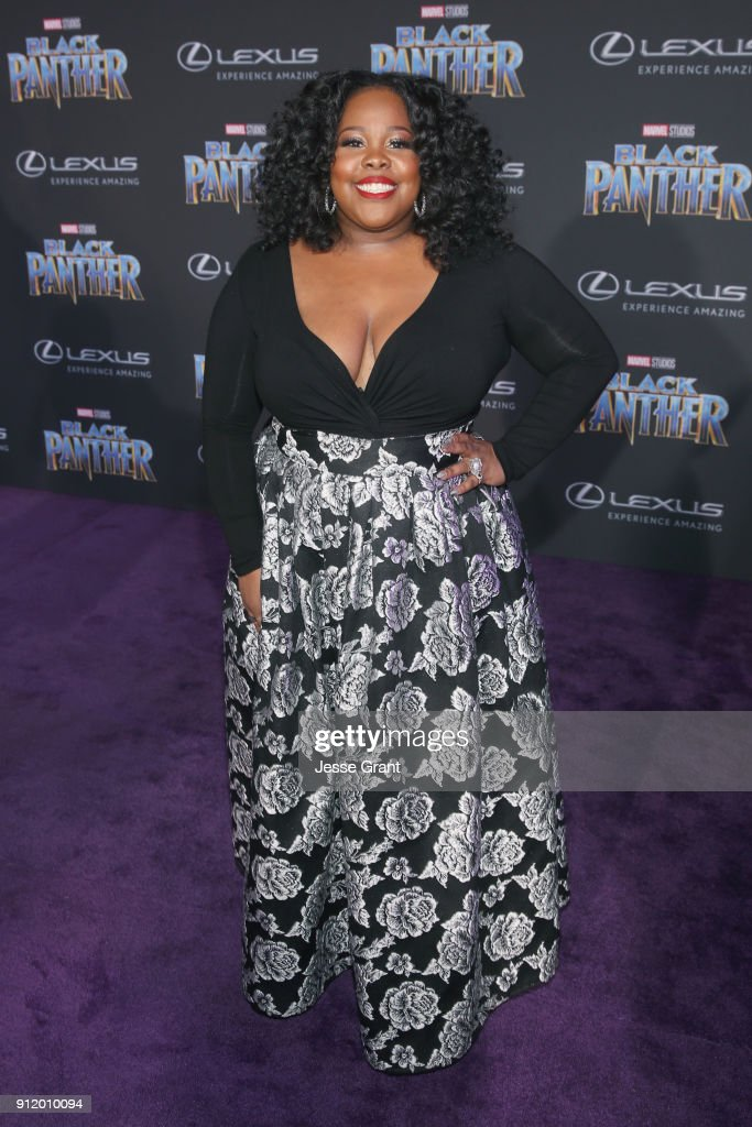 Actor Amber Riley at the Los Angeles World Premiere of Marvel Studios' BLACK PANTHER at Dolby Theatre on January 29, 2018 in Hollywood, California.