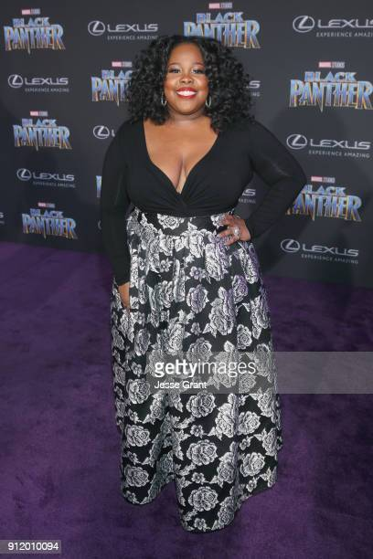 Actor Amber Riley at the Los Angeles World Premiere of Marvel Studios' BLACK PANTHER at Dolby Theatre on January 29 2018 in Hollywood California