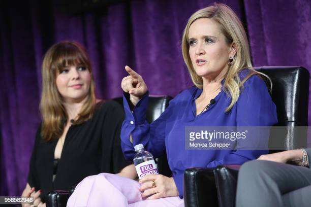 Actor Amber Tamblyn and Executive Producer and host Samantha Bee speak onstage during the 'Full Frontal with Samantha Bee' FYC Event NY on May 14...