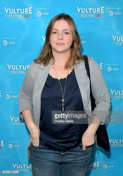 Actor Amber Tamblyn attends the 'Feminist AF' panel during Vulture Festival LA Presented by ATT at Hollywood Roosevelt Hotel on November 18 2017 in...