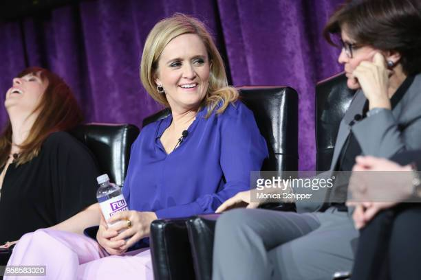 Actor Amber Tamblyn Executive Producer and host Samantha Bee and Cofounder and Executive Producer of Recode Kara Swisher speak onstage during the...