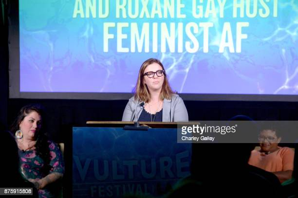 Actor Amber Tamblyn speaks onstage during the 'Feminist AF' panel part of Vulture Festival LA Presented by ATT at Hollywood Roosevelt Hotel on...