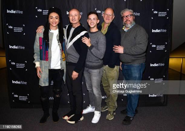 Actor Amber Whittington filmmaker Fenton Bailey figure skater Adam Rippon filmmaker Randy Barbato and Alonso Duralde attend the Los Angeles special...